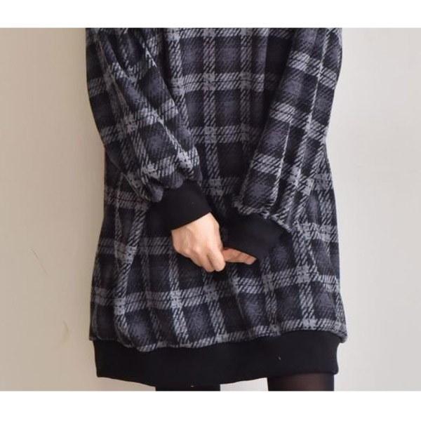 ★送料無料★配色チェック チュニック ワンピース レディース 韓国ファッション ワンピース パーカー コート カーディガン ワイドパンツ スカート トレーナー アウター バッグ リュック