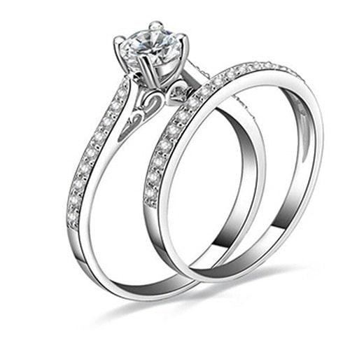 女性のエンゲージメント結婚式2個セットキュービックジルコニア925スターリングシルバーリングサイズ6-10