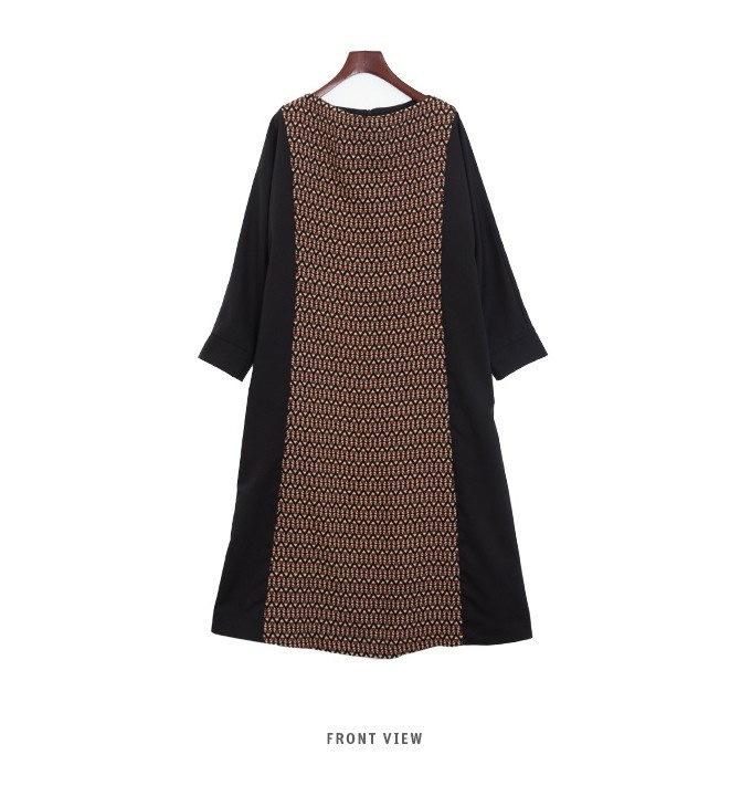 『韓国製』SELLISHOP Zigzag long ワンピース「大きいサイズ 大人 韓国 ファッション・結婚式・フォマール 黒 フレア 30代 40代 50代 スレンダー・Aライン,シャツ・上品・ロ