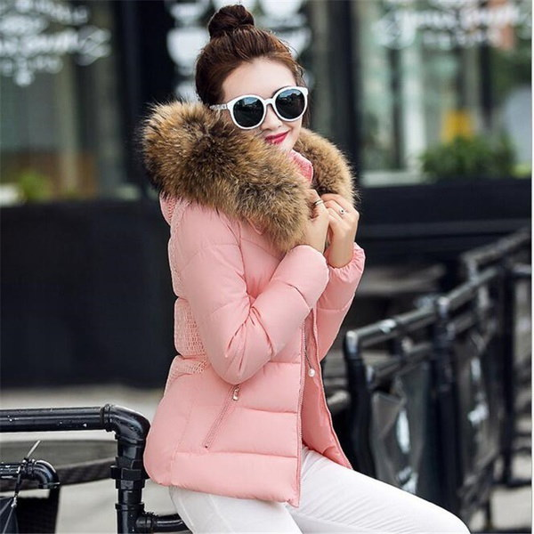 フェイクファーカラーパーカーダウンコットンジャケット2017ウィメンズジャケット女性シックなスノーウェアコートレディース服