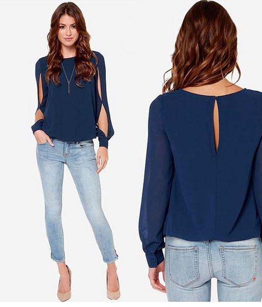 ヨーロッパスタイルの女性のトップス長袖シフォンカジュアルシャツブラウスTシャツの大きいサイズS  -  XXXL