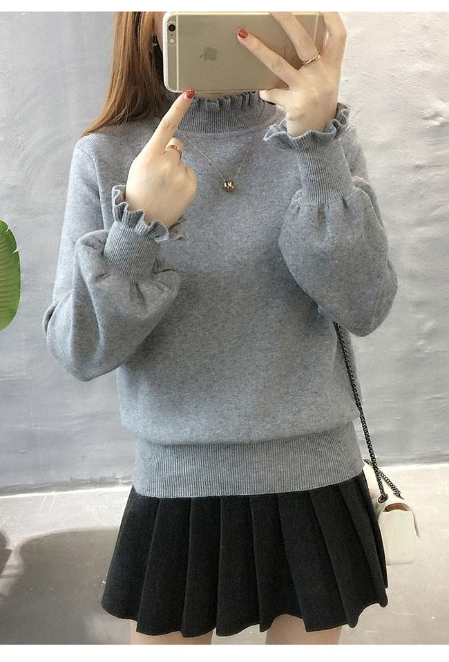 レディースファッション トップス セーター ニット タートルネック ハイネック プルオーバー 色豊富展開 無地 柔らかい インナーで使っても パフ袖 ショート丈 可愛い