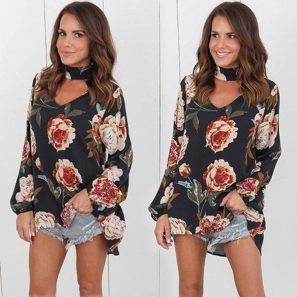 Fashion Women Long Sleeve Chiffon Floral Print Casual T Shirt Loose Blouse Fashion Tops