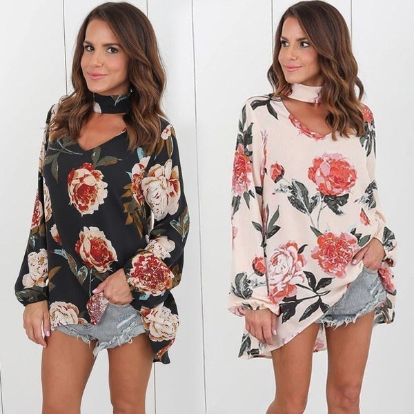 Fashion Women Long Sleeve Chiffon Floral Print Casual T Shirt Loose Blouse Fashion Tops