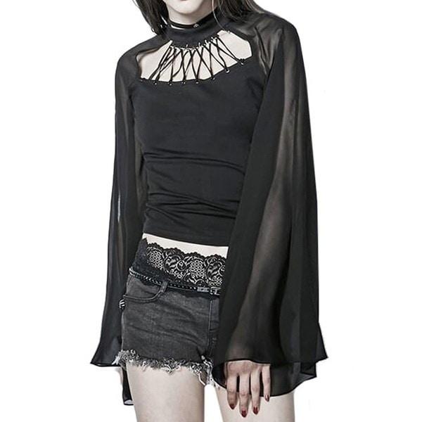 チャーム新しい夏の女性のレディースファッションシャツブラックロングスリーブ中空パンクゴシックレイブブラウストップ