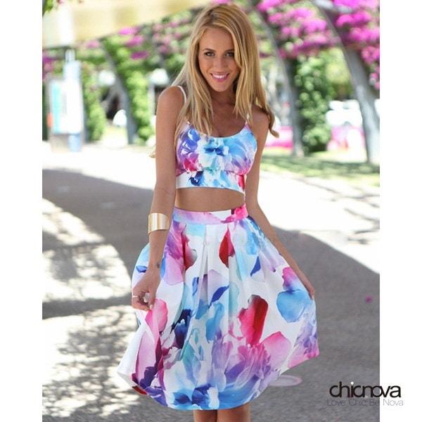 女性トリプルロープとスカート2ピースノースリーブスパゲッティストラップミディスカート印象的な花のプリントドレス