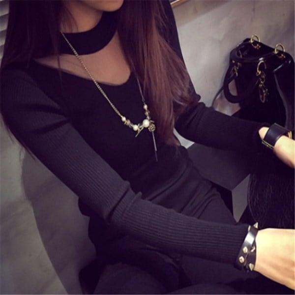 女性ファッションロングスリーブVネックガーゼステッチセーター