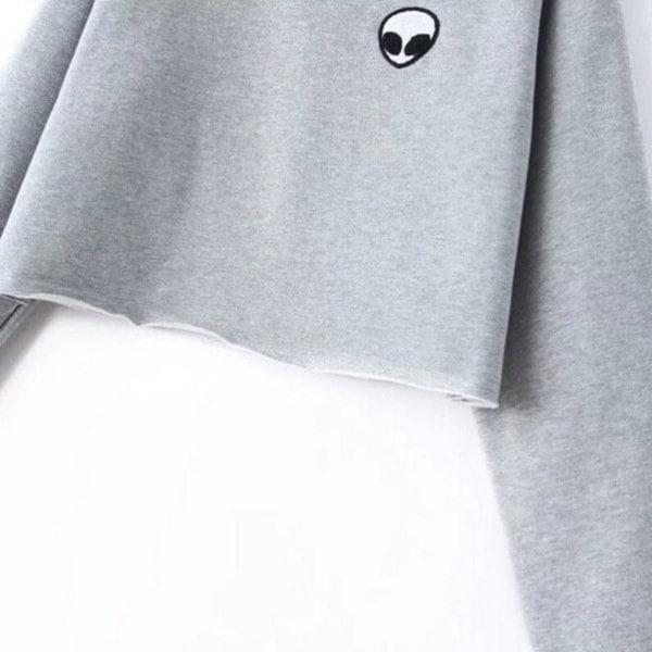 女性エイリアンパッチ刺繍Crewneckクロップドスエットシャツフリースパーカーブラウス