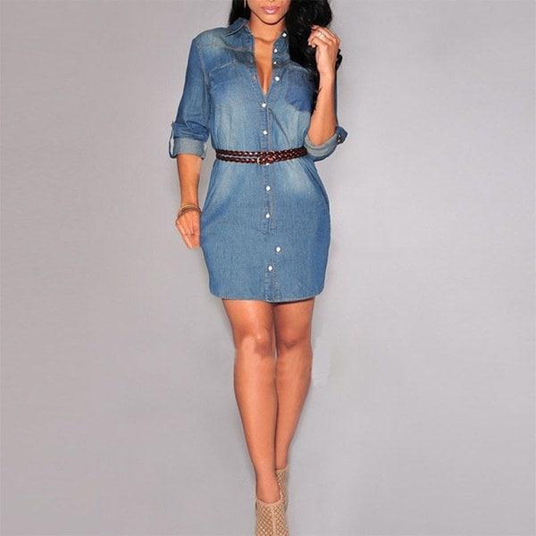 エレガントな女性Deminジーンズドレスカジュアルロングスリーブボトムダウンドレスファッションシャツミニドレス