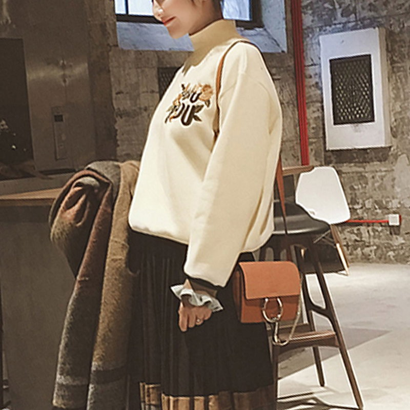 パーカー 長袖 フリル裾 フリル プルオーバー ハイネック スタンドネック 刺繍 花柄 花刺繍 レディース トップス トレーナー 長袖 韓国ファション シンプル あったか