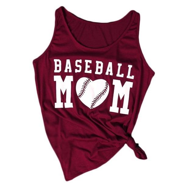 女性のTシャツタンクの作物トップ野球のママノースリーブタンクトップベスト