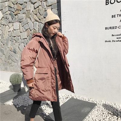 [55555SHOP]冬/女性服/アウターウェア/韓国風/ルース/大型ポケット/単一色/手厚い/帽子付き/中長デザイン/太もも/コットンコート/コットンコート