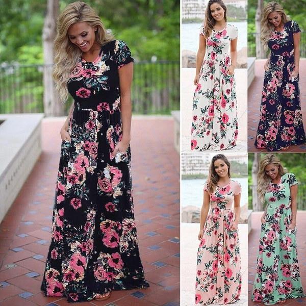 Breathable Womensセクシーな半袖プリントロングドレスBohoスタイルのビーチドレス