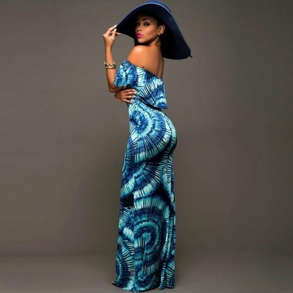 セクシーな女性の花サマービーチBohoパーティーイブニングマキシロングドレス