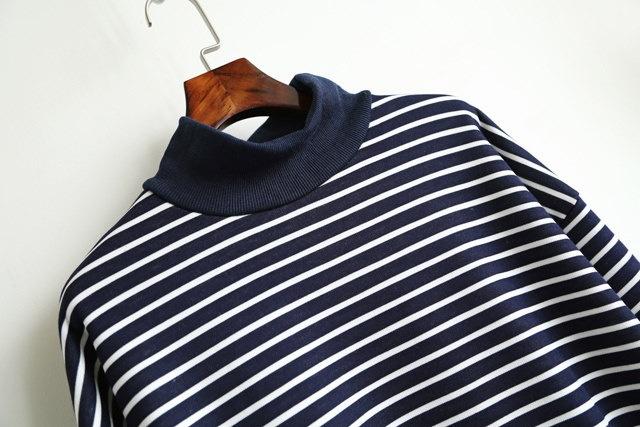ボーダー あったかシャツ シャツワンピ Tシャツ ロング ロングTシャツ ハイネック ゆったり カジュアル チュニック ロンT 裏起毛 あたたかい ルームウェア ゆるカジ フリーサイズ ブラック 黒 グレー ネイビー 可愛い 体型カバー ワンピース (68-120) ※納期に10日から14日ほどかかります。