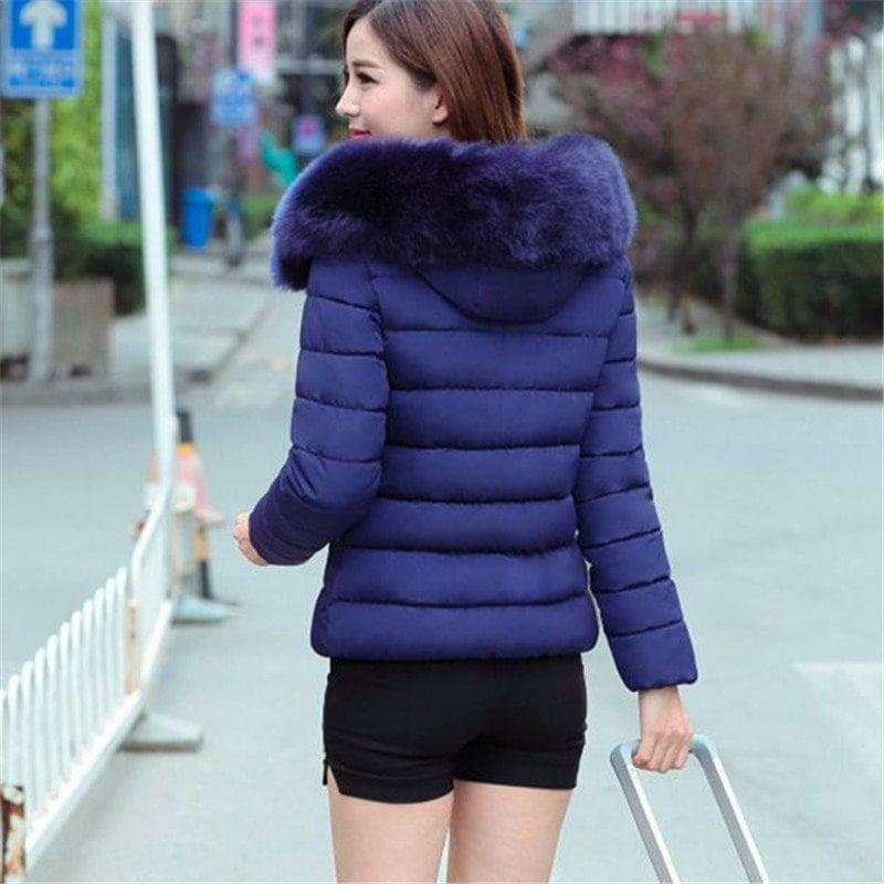 女性の暖かい冬のジャケット2016ファッション女性フード付きの毛皮の襟ダウンコットンコートソリッドカラースリム大きいサイズの女性のコートF1141