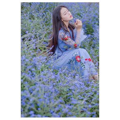 ワンピース チュニック ロング丈 マキシ丈 長袖 Vネック Aライン 春夏 ロングワンピース レース 水色 ブルー 花柄 フラワー 刺繍 ロング袖 透け感 パーティー