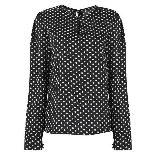 女性優雅なポルカドットプリント長袖シフォンシャツ秋レディファッションレジャースキニーTシャツ