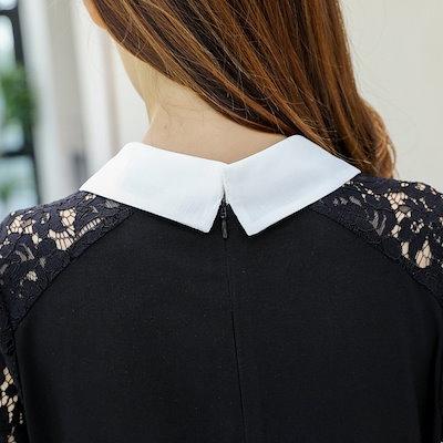 ワンピース ドレス レース ミニ丈 五分袖 袖あり 20代 黒 ピンク 襟付き 春夏 お呼ばれ 大人可愛い 透け感 大きいサイズ 二次会
