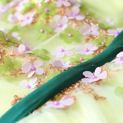 20代 春夏にピッタリ爽やかで可愛い立体花のシフォンプリンセスドレス 結婚式 婚活 二次会 お呼ばれ パーティー ドレス 2018