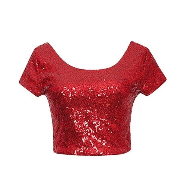 レディーススパンコールトップスTシャツサマーシャツ半袖Tee Top