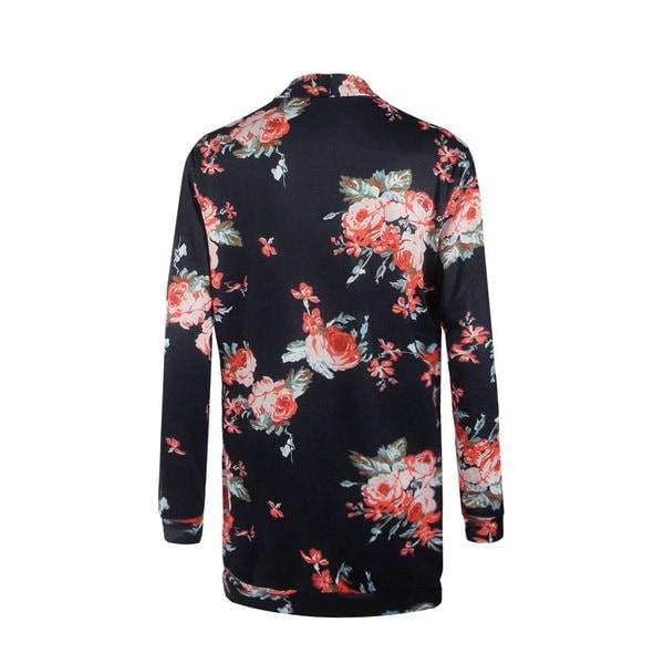 新しいファッション花の印刷デザイン不規則なカーディガンコート(米国在庫5日間)