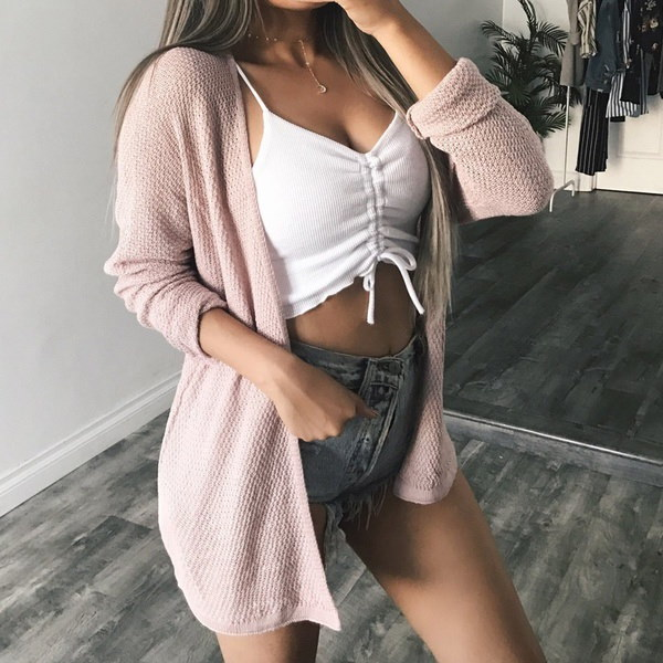 新しい女性の長袖オープンフロントカジュアルコートカーディガンファッションニット居心地の良いセーターのアウター