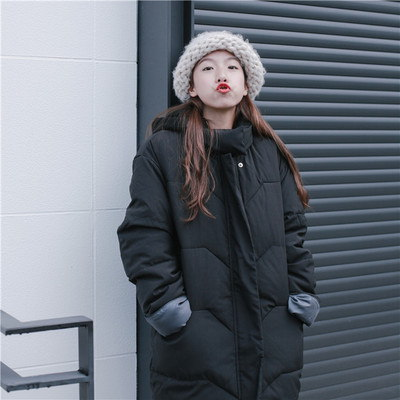 [55555SHOP]秋と冬/韓国風/単一色/コットンコート/女子学生/ルース/着やせ/中長デザイン/パンコート/手厚い/綿が詰めジャケット/女