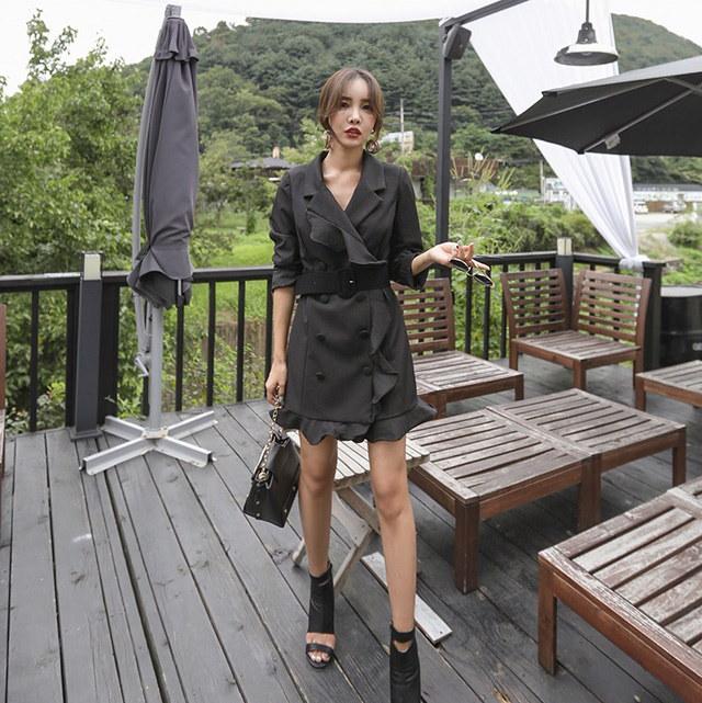 ゲストルック格式ルックフリルダブルボタンジャケット兼ワンピースデイリールックkorea women fashion style