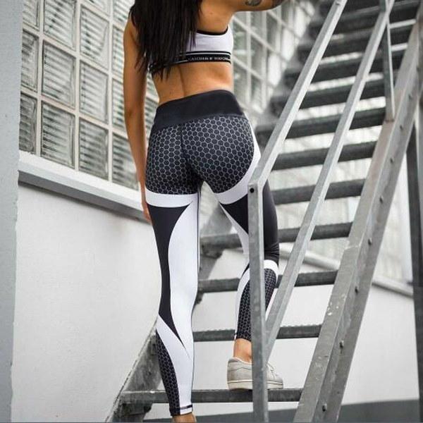 新しいメッシュパターンのプリントレギンス女性のためのフィットネスレギンススポーツワークアウトレギンス弾性パンツ