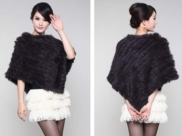 ファジャット新しい女性のファッションソフトニット本物のファーポンチョジャケットコート