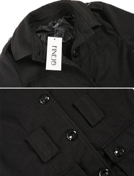 女性ファッションパーカートレンチベルトロングコートブラックソリッド単身アウター