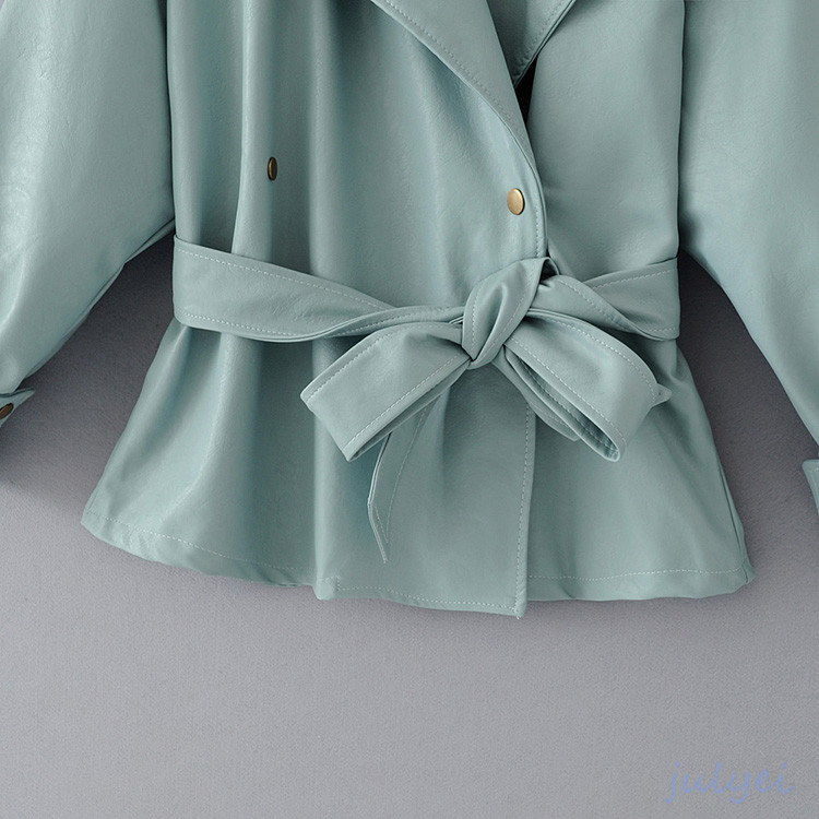秋フランスのトレンチコート エレガント レザージャケット ショート丈 レディースライダース   気品と高級感 革ジャン ベルト付き