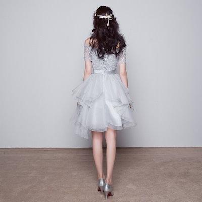 パーティードレス オフショル ノースリーブ ウエストリボン ミディアム ドレス ワンピース ミニドレス 総レース お呼ばれ