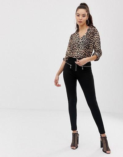 エイソス レディース シャツ トップス ASOS DESIGN long sleeve shirt in leopard animal print