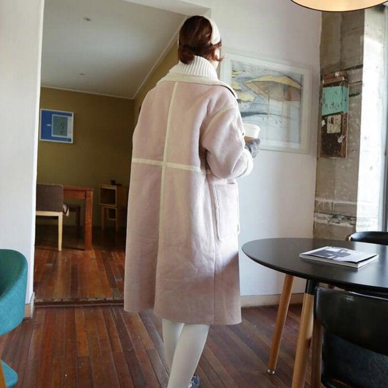 【全2色】【表でも裏でも着れる✧】2017冬服韓版着やせ コート毛皮のコート女装して毛ですね/韓国ファッション/冬のファッション  裏ボアリバーシブルコートレディース /アウター  ロング