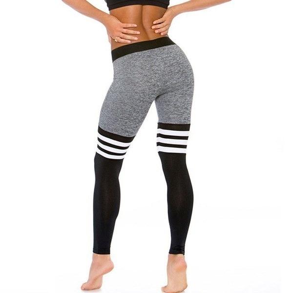 ファッション女性スポーツジムヨガワークアウトハイウエストランニングパンツ弾性レギンスGOO