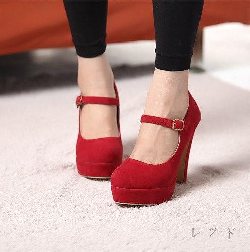 レディース  パンプス 靴 シューズ アンクルパンプス アンクルベルト ストラップ 美脚 履きやすい 疲れにくい ハイヒール ヒール11cm ストームパンプス 前厚 厚底 大人のパンプス シンプル スエード素材