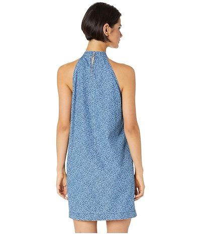 セセ レディース ワンピース トップス Sleeveless Printed Floral Denim Halter Neck Dress