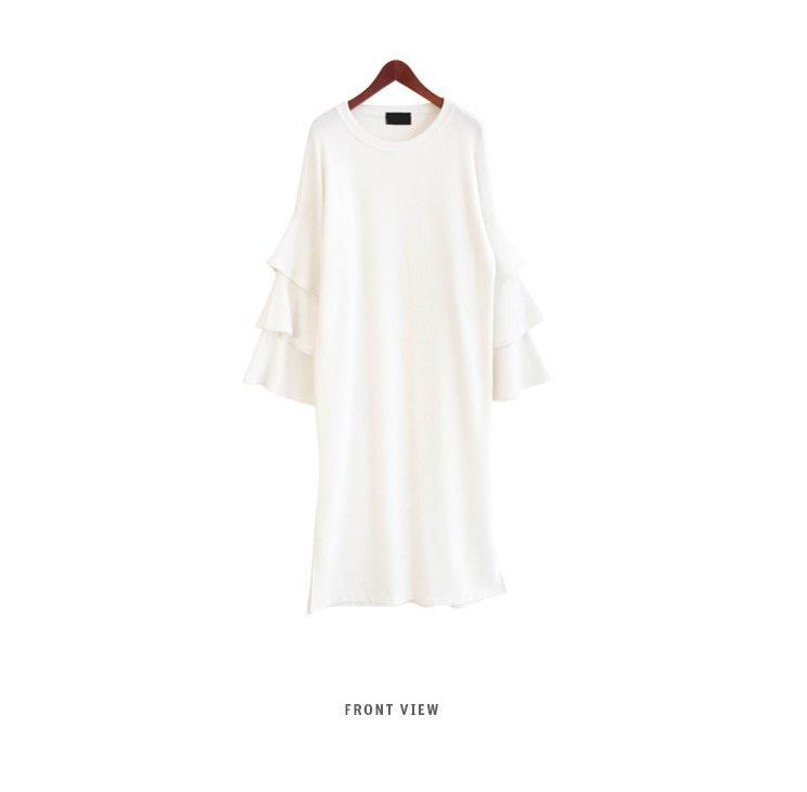 『韓国製』SELLISHOP ラッフル ワンピース「大きいサイズ 大人 韓国 ファッション・結婚式・フォマール 黒 フレア 30代 40代 50代 スレンダー・Aライン,上品・ロング ミセス XL・2