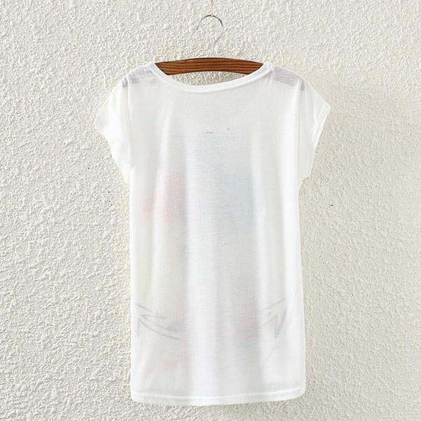 レディースルーズコットンショートスリーブネックレスフクロウプリントシャツサマーティーブラウストップス(カラー:ホワイト)