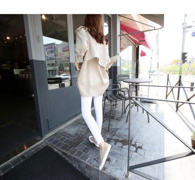 レディース服 女性 ファッション コート アウター トレンチコート 短い丈 羽織 薄手 爽やか カジュアル バックル 通勤 大人 秋服 ダブルボタン 韓国風