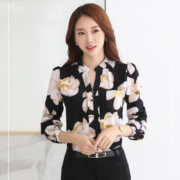 秋ファッションVネックスリム女性シフォンブラウスオフィスシャツ