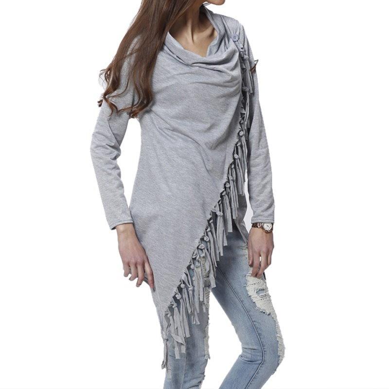 ファッション秋の女性ロングスリーブタッセルスラッシュプルオーバーカジュアルニットウェア冬セーター米国在庫