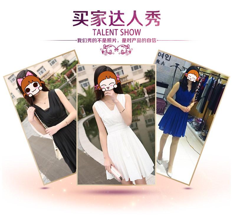 夏のレディスタイルにふさわしいエレガントなデザイン☆シフォン ノースリーブ カシュクールフロント 切り替えプリーツ ワンピース