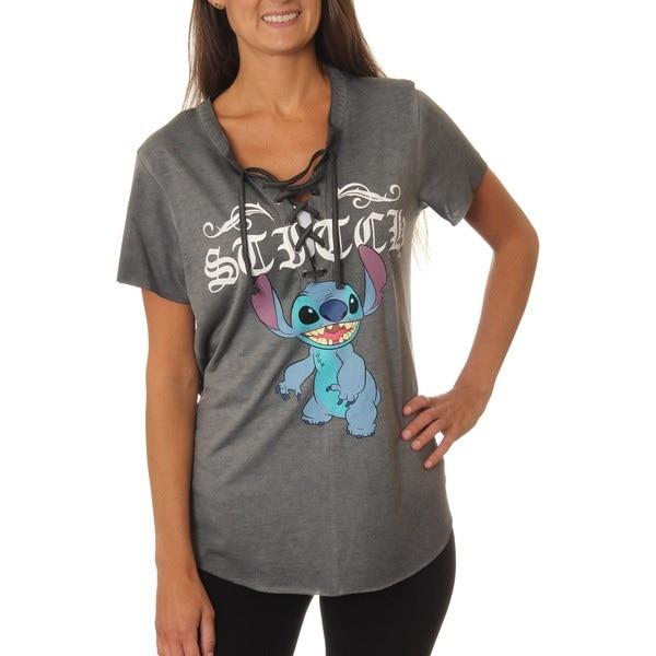 Lilo&Stitch JuniorsクラシックキャラクターポーズレースアップウォッシュドショートスリーブグラフィックTシャツ