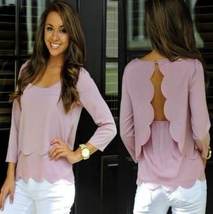 女性セクシーな背中の二重の燃焼フラワーシフォンシャツTシャツ中空波状のエッジ