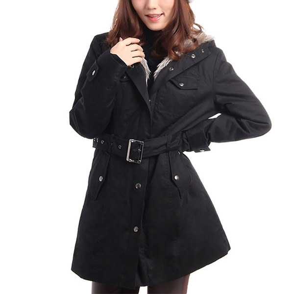 高品質の女性のファッション冬暖かいフード付き包帯パーカーカジュアルロングコート