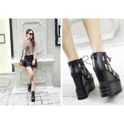 韓国ファッション厚底サンダル ヒール13cm サンダル サマーブーツ オープントゥ ブーツサンダル ウェッジソール ブーティ ナウシカブーツ ブーサン インヒール レディース 靴
