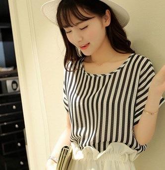 夏のファッションスタイルのストライプシフォンブラウスシャツ女性TシャツプリントトップスカミサスFemininas Tシャツ